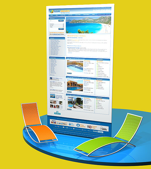 Azure Holidays website and content management system - designed by Intechnia